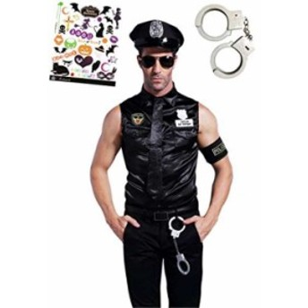 ワイルドポリスメン 警察官 警官 コスチューム ハロウィン タトーシール付き 2点セット メンズ S513(黒フリーサイズ)