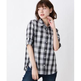 【10%OFF】 シューラルー コットンチェックシャツ レディース ブラック(219) 02(M) 【SHOO・LA・RUE】 【セール開催中】