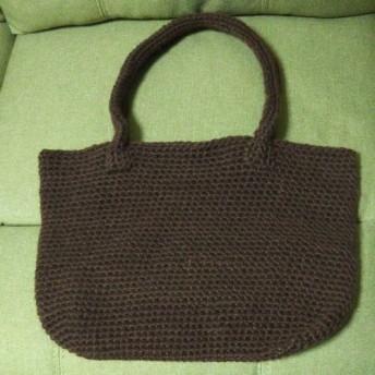毛糸 ブラウン トートバッグ