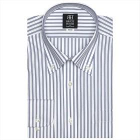 [マルイ]【セール】形態安定 ノーアイロン 長袖ワイシャツ ボタンダウンカラー 白×ブルーダブルストライプ/ブリックハウス(BRICKHOUSE)