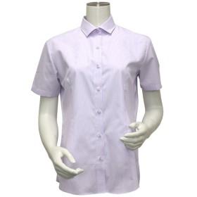 [マルイ]【セール】形態安定 ノーアイロン インナー付き半袖シャツ パイピング風 ワイド衿 白×パープルストライプ/ブリックハウス(BRICKHOUSE)