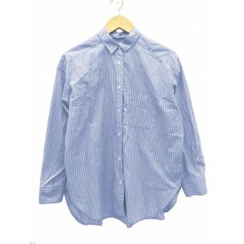 【中古】ジャーナルスタンダード レリューム JOURNAL STANDARD relume シャツ カジュアル ストライプ 長袖 F 青 ブルー 白 ホワイト