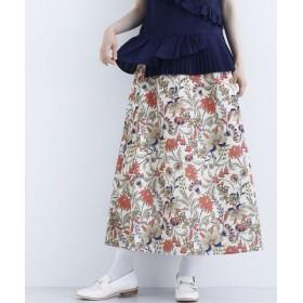 (merlot/メルロー)ボタニカル柄スカート/レディース ベージュ 送料無料