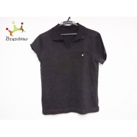 マドモアゼルノンノン 半袖ポロシャツ サイズ38 M レディース ダークブラウン×ライトグリーン 新着 20190820