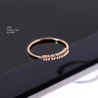 【レディースジュエリーステンレ ス316L 18Kgf ピンクゴールド リング 指輪 】好運珠 ダイヤ リング 指輪アクセサリー 関節リング ピンキーリング 色落ちしない高品質!