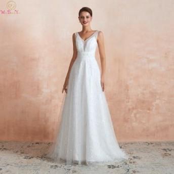 abiti sposa ウェディングドレス Aラインパール レース Vネックレースシンプルブライダルドレス Ivory