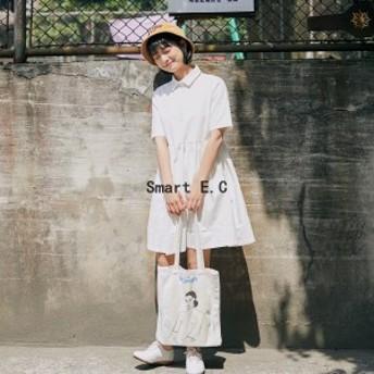【夏新作】半袖 綿ロング 体型カバーセワンピース レディース ワンピース 全2色(ブラック ホワイト)--yf236