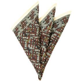 【UNIVERSAL LANGUAGE:スーツ・ネクタイ】【ADAMLEY】ジオメトリックプリント シルクポケットチーフ