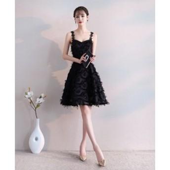 パーティドレス レディース 披露宴 Aラインドレス 黒 イブニングドレス 二次會ドレス ノースリーブ ショート丈 キャミワンピー