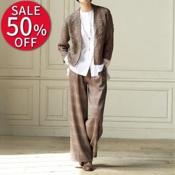 セール ファッション (股下丈70cm)チェックプリント タックワイドパンツ レディース パンツ PC3216