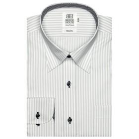 [マルイ]【セール】形態安定 ノーアイロン 長袖ワイシャツ スナップダウン 白×グレーストライプ スリム/ブリックハウス(BRICKHOUSE)