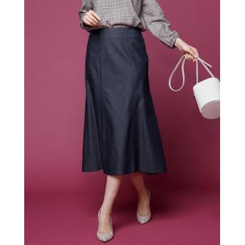 ストレッチデニム・裾フレアスカート