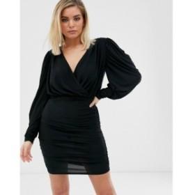 リバーアイランド River Island レディース ワンピース ワンピース・ドレス wrap dress in black Black