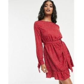 ミスガイデッド Missguided レディース ワンピース ワンピース・ドレス tea dress with frill hem in red polka dot Red