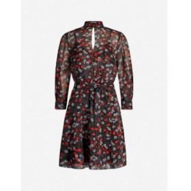 リース REISS レディース ワンピース ワンピース・ドレス Peony floral-print waist-tie crepe dress Red/black