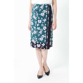 NATURAL BEAUTY ナチュラルビューティ ◆[ウォッシャブル]スカーフエッジフラワースカート ひざ丈スカート,グリーン