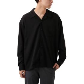[REPIDO (リピード)] シャツ 長袖シャツ 開襟 メンズ トップス 開襟シャツ オープンカラー シャツ 無地シャツ ブラック XLサイズ
