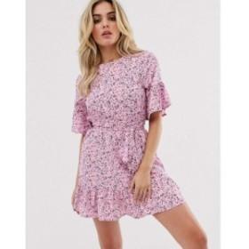 プリティリトルシング PrettyLittleThing レディース ワンピース ワンピース・ドレス dress with tie detail and ruffle hem in pink dit