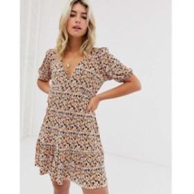 エイソス ASOS DESIGN レディース ワンピース ワンピース・ドレス mini plisse tea dress pep hem in ditsy print Ditsy print