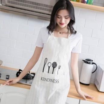 キッチンエプロン キッチン用品 レディース シンプル 防水 防油 防汚 ポケット付き かわいい ホワイト ブラック ベージュ