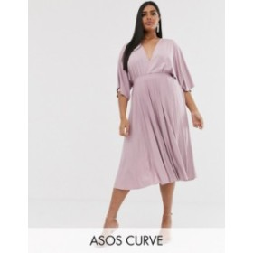 エイソス レディース ワンピース トップス ASOS DESIGN Curve Exclusive Pleated Slinky Kimono Midi Dress Mink