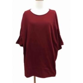 【中古】ショコラフィネローブ chocol raffine robe チュニック カットソー 七分袖 F 赤 レッド /AF30 レディース