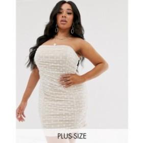 セイントジーニーズ Saint Genies Plus レディース ワンピース ワンピース・ドレス dotty tulle ruched mini dress in white White