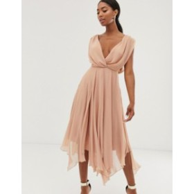エイソス レディース ワンピース トップス ASOS DESIGN wrap bodice midi dress with drape back Nude