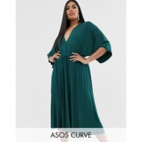 エイソス レディース ワンピース トップス ASOS DESIGN Curve Exclusive Pleated Slinky Kimono Midi Dress Teal