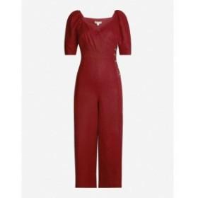 ホイッスルズ WHISTLES レディース オールインワン ワンピース・ドレス Eliza wrapover-front linen jumpsuit Purple