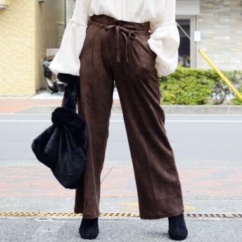 パンツ・ズボン全般 - ANDJ ワイドパンツ ボトムス ウエストリボン ハイウエスト フェイクスエード(bf73d03792)
