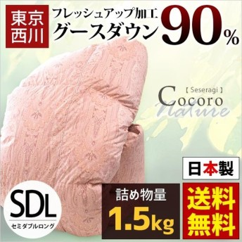 東京西川 羽毛布団 セミダブル グースダウン90% 1.5kg 日本製 羽毛掛け布団 Seseragi せせらぎ