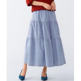 ティアードロング丈デニムスカート(オトナスマイル) (大きいサイズレディース)スカート,plus size