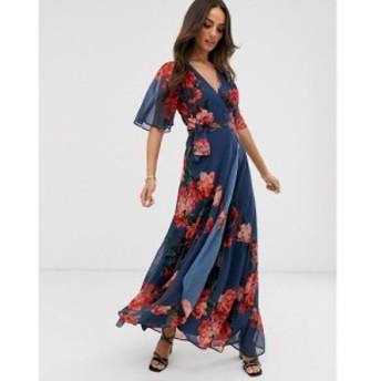 ホープ&アイビー Hope & Ivy レディース ワンピース ワンピース・ドレス wrap front boho maxi dress in blue floral print Blue floral