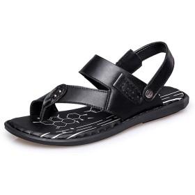 [JTCT-SHOES] スキッドレジスタンスレジャースリッパ メンズファッション快適なサンダルカジュアルシンプルな軽量夏用バックルクリップオンスリッパ スキッドレジスタンスレジャースリッパ (Color : ブラック, サイズ : 25 CM)