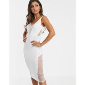 エイソス レディース ワンピース トップス ASOS DESIGN organza panel sheer split midi dress White