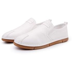 [AWOR] ビジネスシューズ メンズ ローファー シューズ 26.5cm スリッポン 黒靴 カジュアルシューズ ホワイト 幅広 軽量 作業靴 ラウンドトゥ フラットシューズ 大きいサイズ 男性 メンズファッション パンチング 通気 涼しい 紳士靴