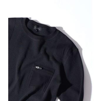 アバハウス スーパーストレッチベアワッフル ロングTシャツ メンズ ブラック 44 【ABAHOUSE】
