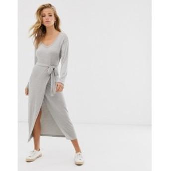 エイソス ASOS DESIGN レディース ワンピース ワンピース・ドレス belted marl jersey knit midi dress Charcoal marl