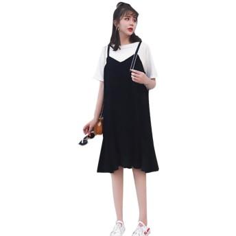Remhop レディース ファッション ロング スカート ドレス 夏 かわいい 半袖 カジュアル 素晴らしい ワンピース ラウンドネック レトロ コットン プリント ひざ丈 きれいめ