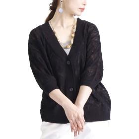[ゴールドジャパン] 大きいサイズ レディース カーディガン 羽織り 透かし編み ショート バルーン袖 cpn-483179 3L ブラック
