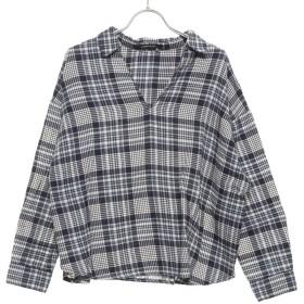 ルノンキュール アウトレット Lugnoncure outlet ネルチェックスキッパーシャツ (ネイビー)