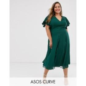 エイソス レディース ワンピース トップス ASOS DESIGN Curve midi dress with lace godet inserts Dark forest