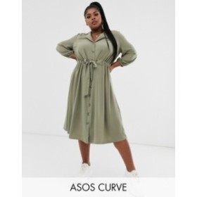 エイソス レディース ワンピース トップス ASOS DESIGN Curve button through midi shirt dress with ruched waist Light khaki