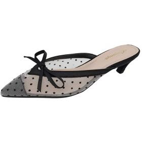 [QSDHEC] ミュール レディース とんがり ピンヒール リボン メッシュ 蝶結び 甲浅 可愛い 低反発 3センチヒール 履きやすい 走りやすい 美脚 シンプル 柔らかい 靴 シューズ パンプス