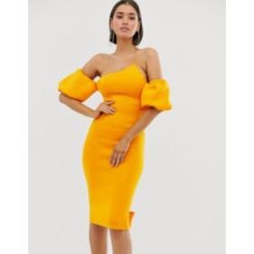 エイソス レディース ワンピース トップス ASOS DESIGN bubble sleeves asymmetric midi dress Orange