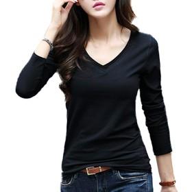 [コウサ] cousa カットソー 3色 Vネック 長袖 オフィス きれいめ ライン Tシャツ カジュアル (C02ブラック(L))…