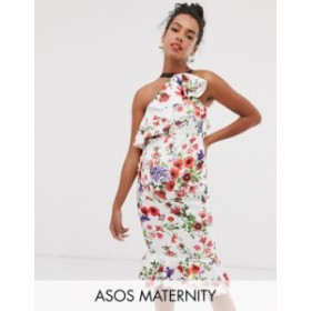 エイソス レディース ワンピース トップス ASOS DESIGN Maternity ruffle one shoulder midi dress with grosgrain straps in floral pri