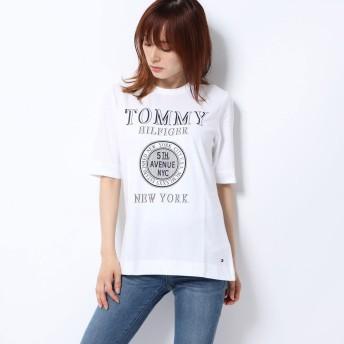 トミーヒルフィガー TOMMY HILFIGER New YorkロゴTシャツ (ホワイト)