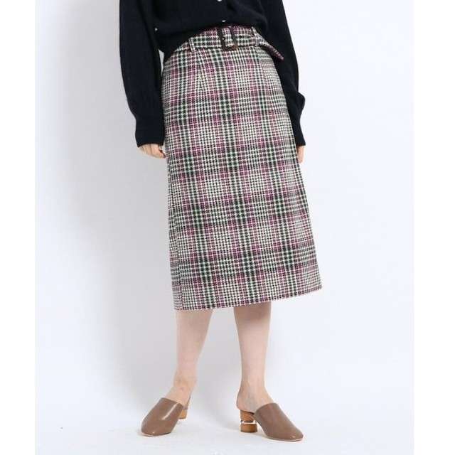 AG by aquagirl / エージー バイ アクアガール 【Lサイズあり】ツィードチェック柄ベルト付タイトスカート